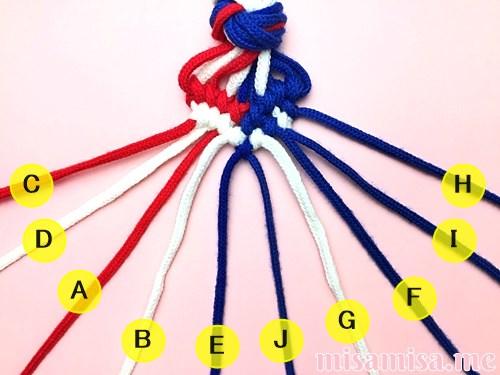 星条旗(アメリカ国旗)柄ミサンガの作り方手順132