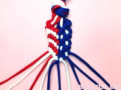 星条旗(アメリカ国旗)柄ミサンガの作り方手順133